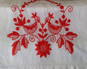 French or Swedish  long linen table runner country vintage embroidered  white kitchen dining bedroom