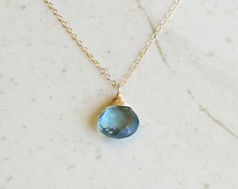 March Birthstone, Aquamarine Necklace, Aquamarine Necklace Gold, Aquamarine Necklace Silver, Aquamarine Necklace Dainty, Gift For Her