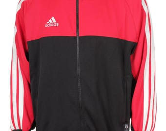 Vintage 90s Adidas Cut And Saw Windbreaker Tracksuit top jacket Blue/Red/White Size M