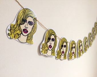 Lady Gaga art, Gaga bunting, bad romance print,  pack comes with 10 bunting pieces, 2 meters of sting and 2 glue dots for hanging