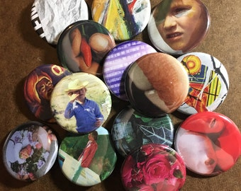 OOAK Magazine collage pins/buttons