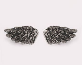 Silver Wing Earrings, Wings Stud Earrings, Angel Wing Earrings, Sterling Silver Earring, Wing Post Earrings, Goth Earring, Feathers Earrings