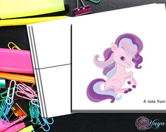 Purple pony Note cards / Custom girl Pony Stationery / Girl Stationery Set / Girl Thank You Cards / Set of 12 Kid Notes