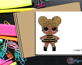 LOL Surprise Doll Queen Bee Thank You Cards / LOL Girl note cards /LOL Girl Stationery Set / Set of 12