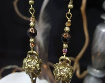 Bronze Skull & Diamond Earrings - skull bird - Bohemian beads - Crystal - Voodoo - faceted - Gothic chic - Ouija Board