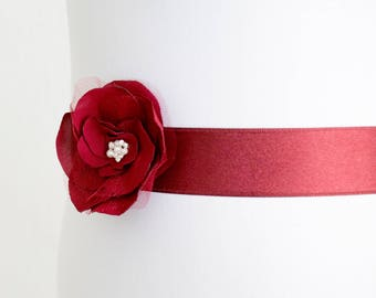 Burgundy Flower Bridal Sash, Burgundy Sash, Bridal Gown Sash, bordeaux Belt, Marsala Flower Belt, Wedding Dress Sash, Formal Dress Sash