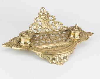 Brass Double Inkwell Desk set