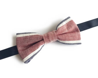 "Light Red Dusty Pink Striped Pre Tied Bow Tie ""Becquerel"", Best Gift For Menvalentine's day gift"