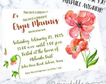 Bridal Shower Invitation - Watercolor Poppies - Wedding Shower Invitation - Custom Invitation - Printable Invitation