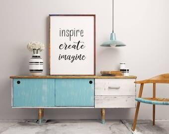 Inspirational wall art, Inspire Create Imagine Print, Trendy printable wall art, Black and white wall art print  teen wall art