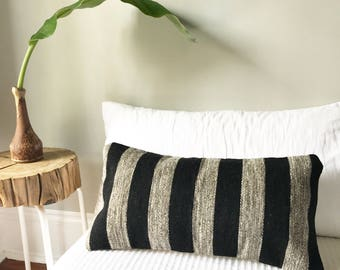 Wool Lumbar Pillow Cover, Boho Pillow, Southwest Pillow, Mexican Pillow, Striped Pillow, Kilim Pillow, Bohemian Pillow, Lumbar Pillow,
