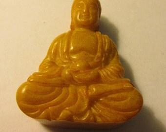 """Chinese Honey Yellow Jade Buddha Pendant-Figurine-Collectible, 2 1/4"""""""
