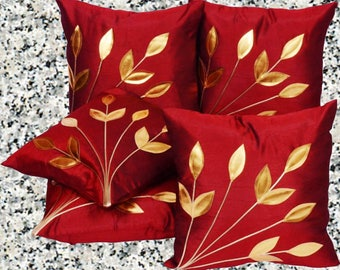 New! Crimson Red Cushion Cover with Gold Embossed Leaves  (Pack of 2, 40 cm*40 cm, Maroon)