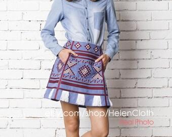 Ukrainian Embroidered Linen Skirt Vyshyvanka Skirt Embroidered Mini skirt Ukrainian Vyshyvanka Boho. Free  shipping