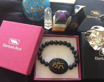 Black Agate Usui Reiki Bracelet ~ Made of Genuine Natural Gemstones from India ~ Healing Meditation Jewellery ~ Sent in Gift Box