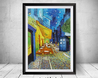 Doctor Who Van Gogh Painting Parody, Tardis Print, Dr Who Illustration, Dr  Who