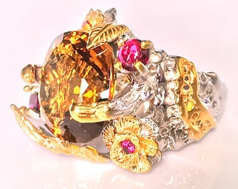 Forest Goddess' Cognac Citrine Rhodolite Ring Size 9 Sterling Silver and Gold