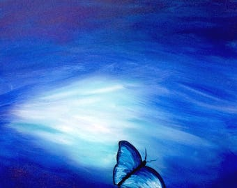 Moonlight Blue Butterfly Flowers Floral Art Original Painting