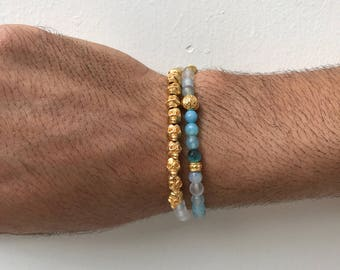 Men's Agate Bracelet, Men's Bracelet, Skull Bracelet, Men's Jewelry, Gift for Him, Made in Greece by Christina Christi Jewels.