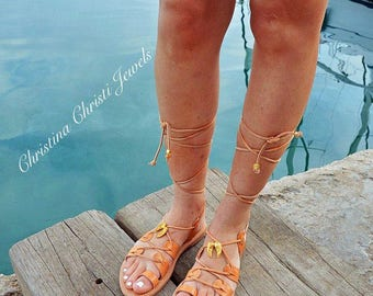 Lace Up Sandals, Leather Sandals Women, Made in Greece from 100% Genuine Leather.