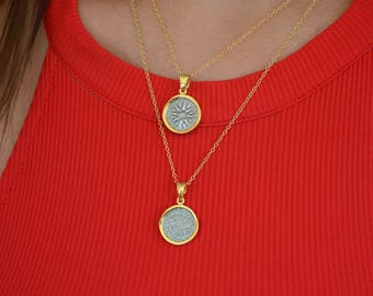 Gold Disc Necklaces, Round Necklaces, Ancient Greek Necklace, Macedonian Necklace, Coin Necklaces, Made from Sterling Silver 925, In Greece.