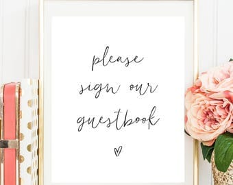 Please Sign Our Guestbook, printable guestbook sign, guest book sign, instant download, customised colour, guest book wedding sign pphw22