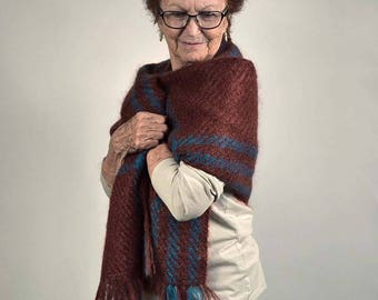 Handwoven shawl, in chestnut brown and turquoise mohair. Winter wrap, pashmina, scarf, handwoven in mahogany brown and turquoise mohair.