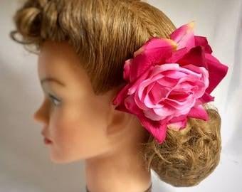 Rose hair flower clip, handmade, pink hair flower, gift for her, vintage style, large hair flower, large rose, 40s style, large rose,