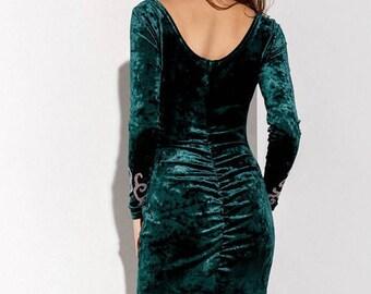 Holiday Dress Emerald velvet  Midi Prom dress velvet Dress Emerald Cocktail Dress Party dress Gray Evening dress Midi dress bridesmaids