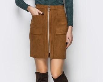 Eco-suede mini-skirt pockets Mustard skirt women Mini skirt with zipper Eco-suede dark green olive tight skirt eco-suede Women skirt spring
