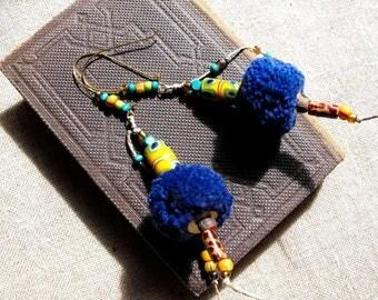 Ethnic earrings dark blue, green and yellow