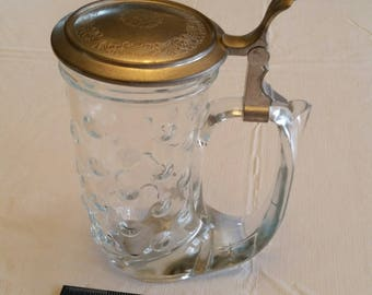 "vintage western germany glass beer stein 7"" - hobnail horn design w/ metal lid - rein zinn - craft ale beverage crystal german barware"