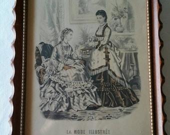 antique 1930 's la mode illustree framed art print - womens fashion dress picture photos french paris vintage decor - wall hanging victorian