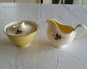 antique sugar bowl w/lid & creamer 1950 's - leaf o' gold pattern - taylor smith taylor - yellow retro vintage kitchen serving gold leaves