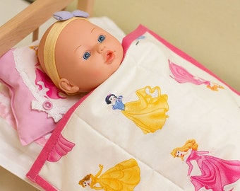Doll Blanket and Pillow, doll comforter set, doll blanket, doll duvet, doll pillow, doll quilt and pillow, doll bedding set, doll bedding