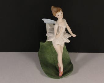 "Exceptional Cybis Porcelain Art Studio ""Tinkerbell"" Fairy On A Leaf ca. 1959-1970."