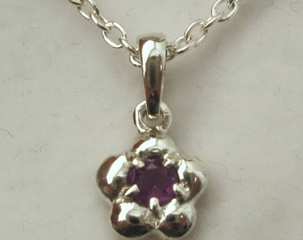 Genuine SOLID 925 Sterling Silver February Birthstone Daisy Amethyst Pendant