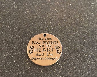 Paw prints on my heart charm, pet memorial charm