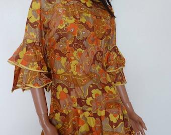Vintage Floral 60s Mini Dress Go Go Ruffles Flower Power Orange Yellow Gold Silk Tiered Gogo Sixties Small