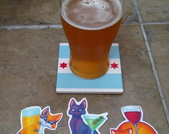 Boozy Cat Stickers 3-pack
