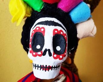 Frida Kahlo, Catrina, Day of the dead, Mexican doll, rag doll, skull, doll fabric, cloth dolls, fabric dolls, rag dolls