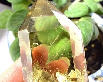 Smoky Citrine Crystal Point, RAINBOW Crystal, Natural Citrine, Smoky Quartz Crystal, Root Chakra Healing Crystals, VERY BEAUTIFUL - 26ES