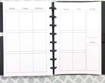 UNDATED Vertical Week on Two Pages Inserts for Discbound Planners, ARC Junior, TUL, 8 Disc Planners