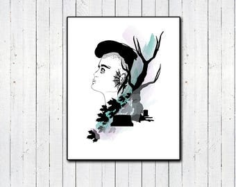 """Goth Girl 11x14"""" Print, Cemetery Print, Dead Tree, Fall, Halloween, Witchy Nature Girl, Androgyny, Watercolor, Black and White, Minimalism"""