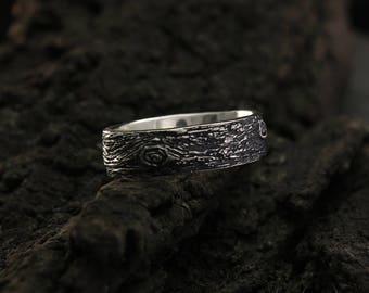 Tree bark wedding band, Rustic wedding ring, Family tree wedding ring, Nature silver ring, Large wedding band, Men's  band, Women ring