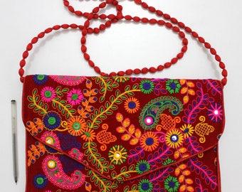 Handmade Ethnic Designer Tribal Banjara Patchwork Embroidered Hippy Fashionable Stylish Trendy Hippie Gypsy Boho Bohemian Clutch Bag F287