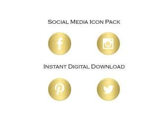 Gold Round Social Media Icons - Basic Pack