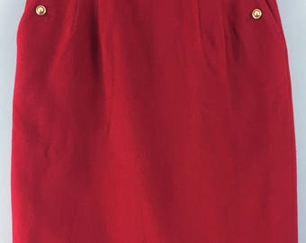 CACHE D'OR vintage red wool cashmere pencil wiggle skirt UK 8/10 gold buttons
