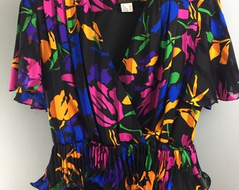 SIMON ELLIS 1980s amazing vibrant silky wrap top 14/16 Pleated hem Vintage