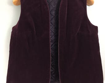 DERETA vintage purple velvet waistcoat UK 16 Quilted lining Cotton blend